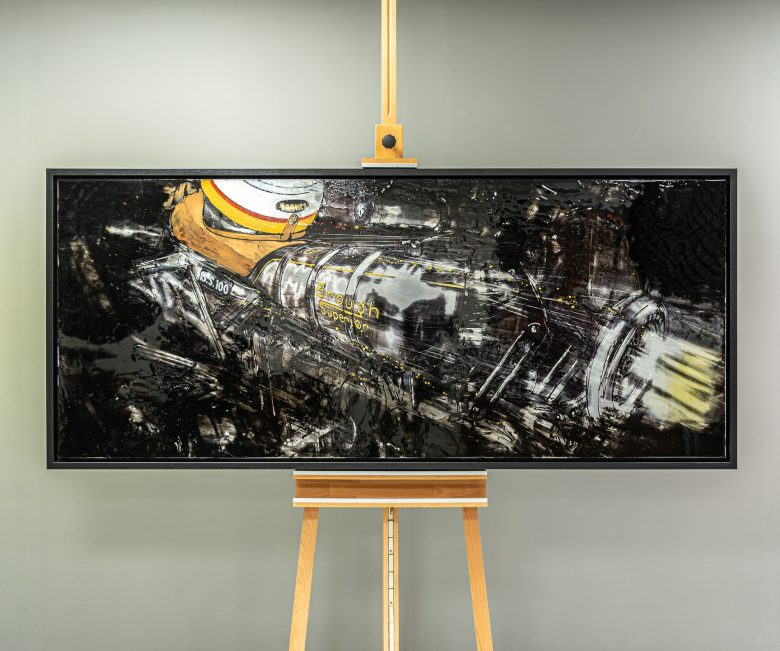 Superior Lines by Paul Kenton, UK Contemporary artist, a Brough Superior SS100 painting from his Motorsports collection