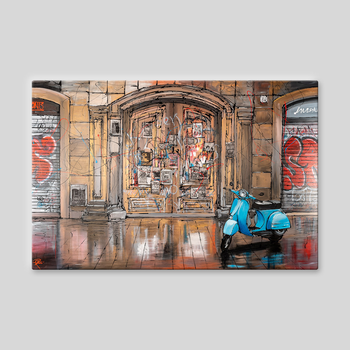 Barcelona Life - Original Barcelona Vespa Painting by UK Contemporary Cityscape Artist Paul Kenton, from the Urban Landscapes Cityscapes collection