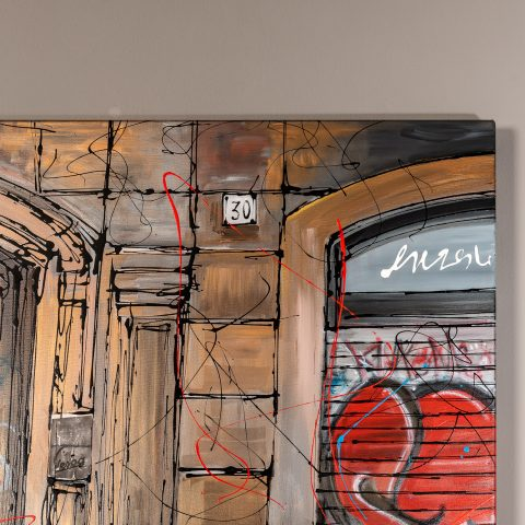 Barcelona Life by Paul Kenton, UK Contemporary artist, a Barcelona street scene from his Cityscapes collection