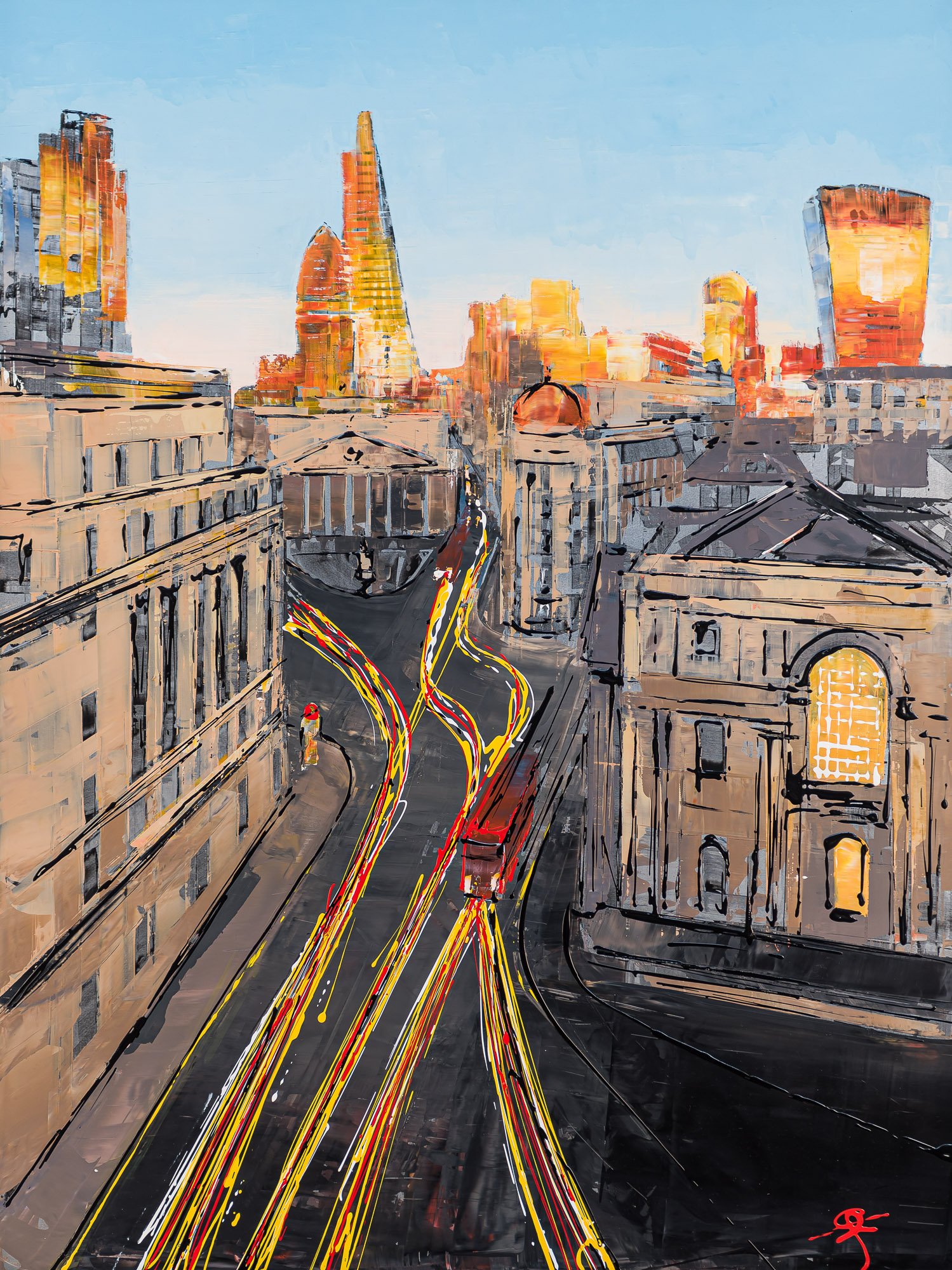 Into the City by Paul Kenton, UK Contemporary Cityscape Artist, an Original City of London Painting