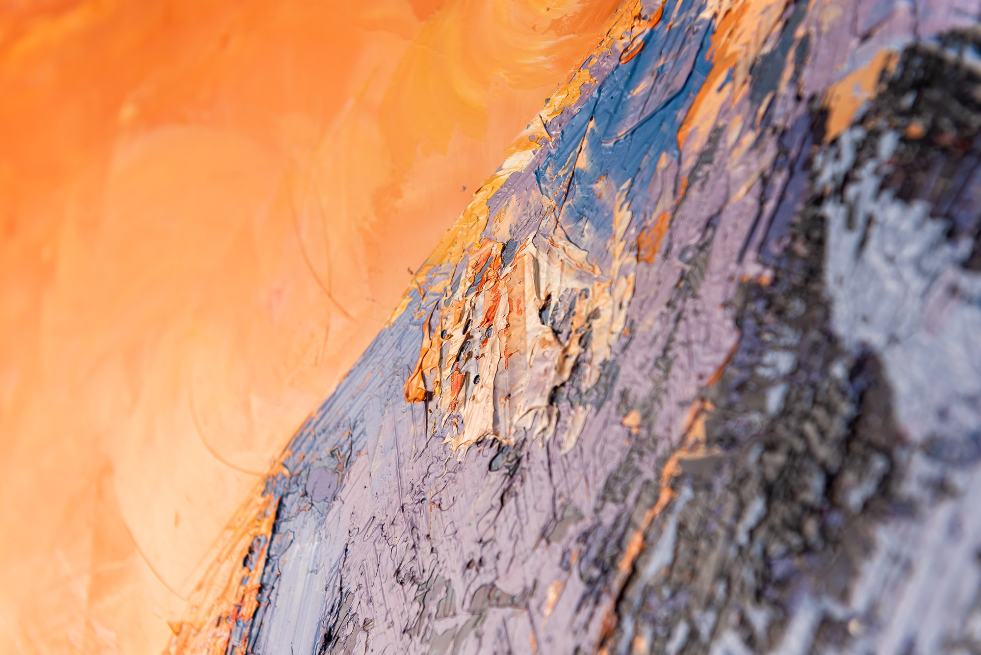 Sunset Summit by Paul Kenton, UK Contemporary artist, a K2 Mountain view original painting from his Oceans and Mountainscapes Art Collection
