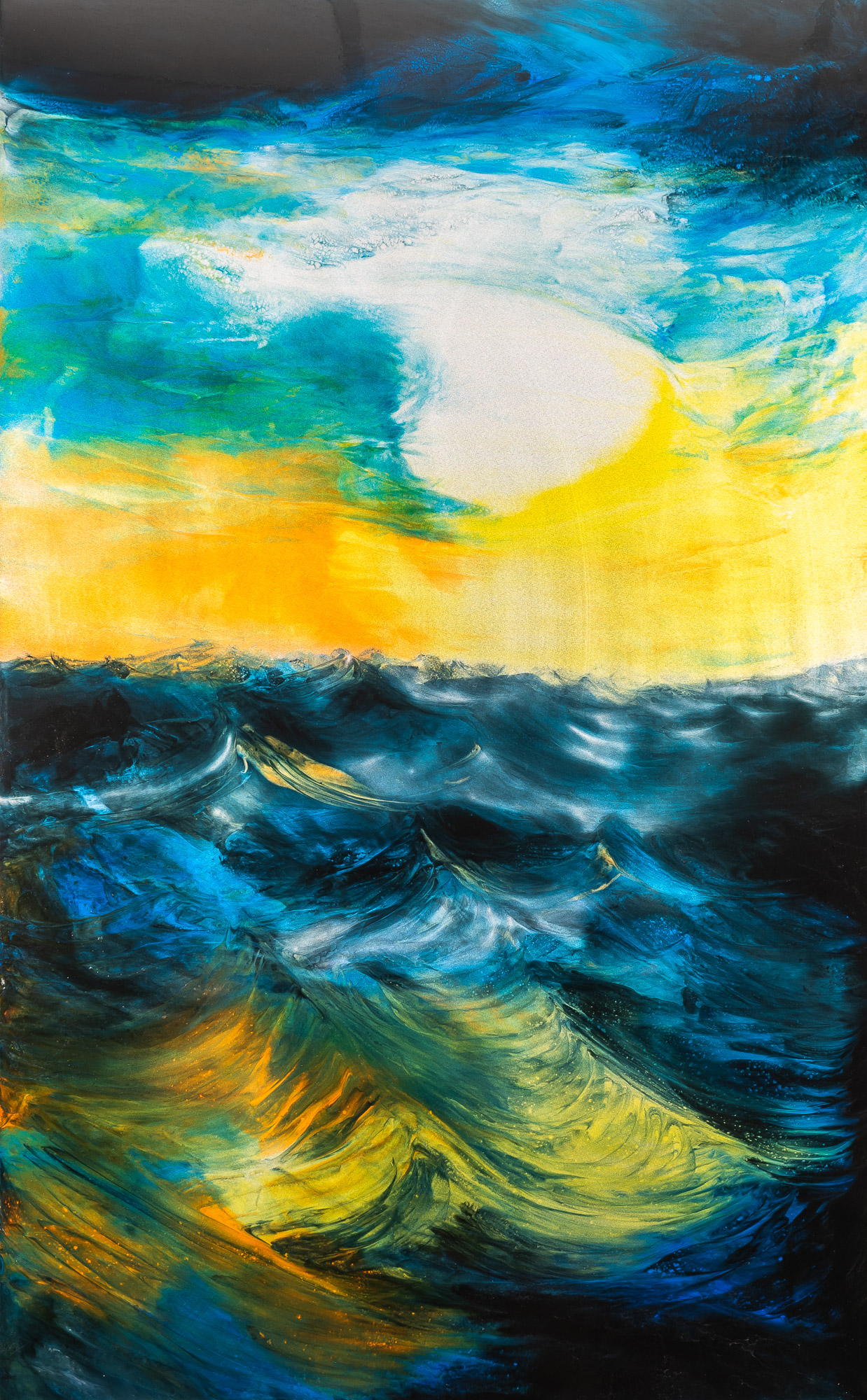 Twilight On The Ocean by Paul Kenton, UK Contemporary artist, an Original Seascape Sunset Painting from his Seascapes and Mountainscapes Collection