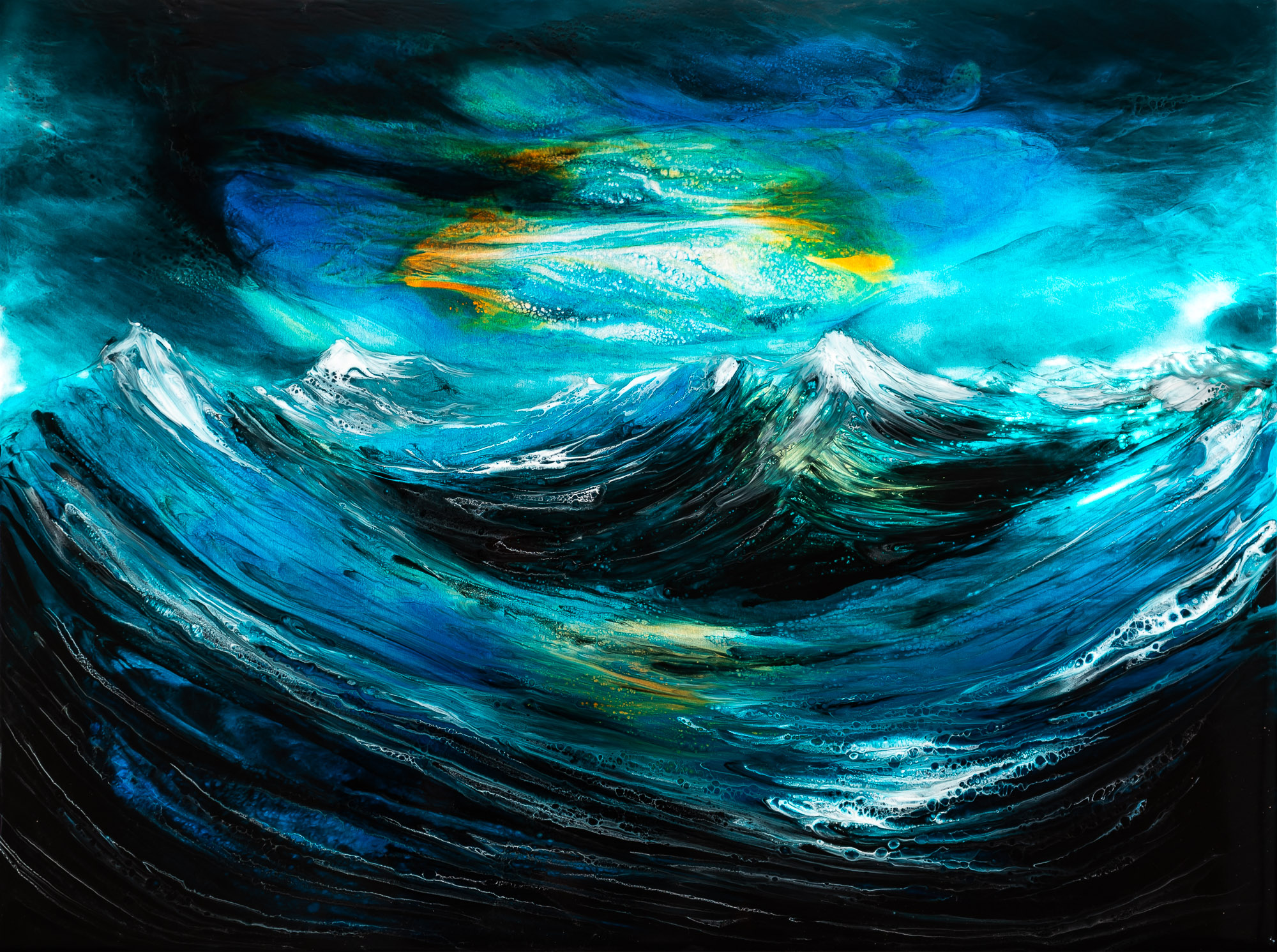 White Caps by Paul Kenton, UK Contemporary artist, an Original Resin Seascape Painting from his Seascapes and Mountainscapes art collection