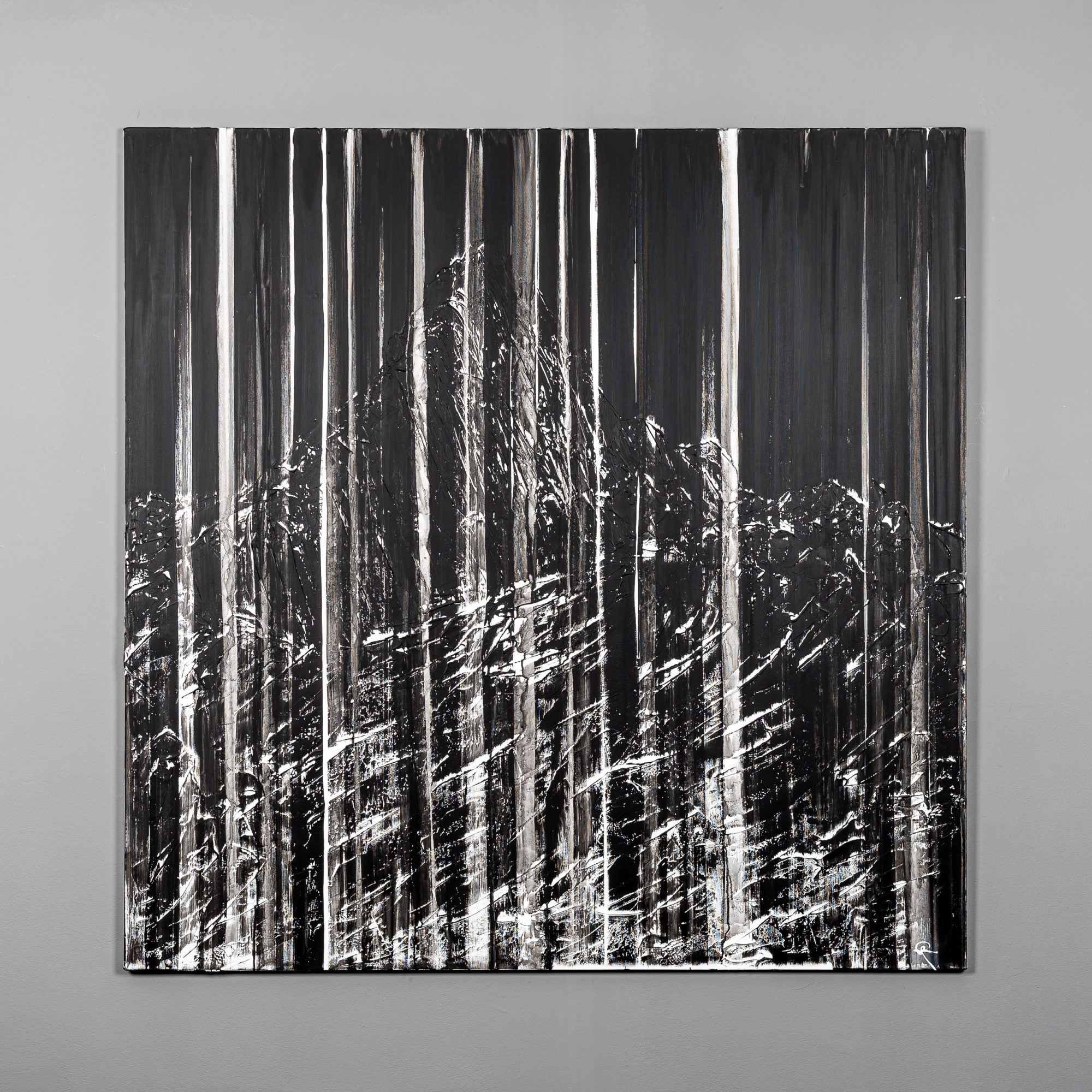Mountain Striations by Paul Kenton, UK Contemporary artist, an abstract mountainscape original oil painting from his Seascapes and Mountainscapes Art Collection