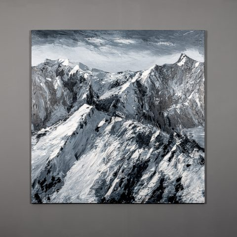 Singular Summit by Paul Kenton, UK Contemporary artist, an abstract mountainscape original oil painting from his Seascapes and Mountainscapes Art Collection