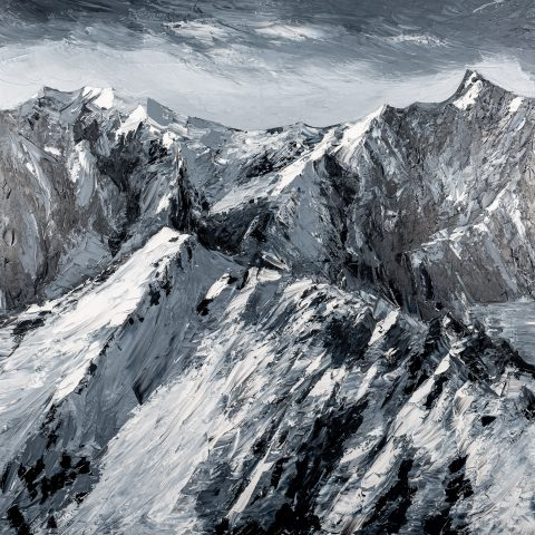 Singular Summit by Paul Kenton, UK Contemporary artist, an original mountain landscape oil painting from his Seascapes and Mountainscapes Art Collection