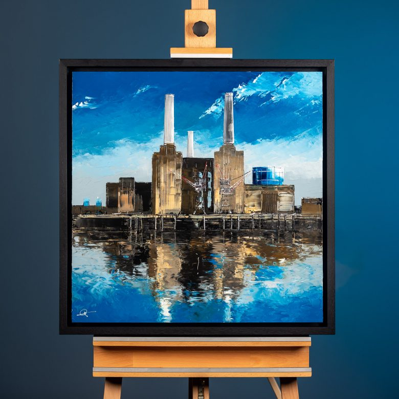 Battersea Blues by Paul Kenton, UK Contemporary Cityscape artist, an original painting of Battersea Power Station from his London Art Collection