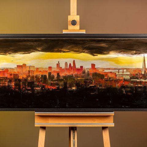 London Radiance by Paul Kenton, UK Contemporary artist, a London Cityscape Resined Mixed Media Original Painting on Aluminium