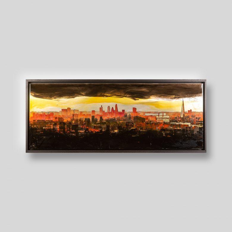 London Radiance by Paul Kenton, UK Contemporary artist, a London Cityscape Resined Mixed Media Original Painting on Aluminium of the London Skyline