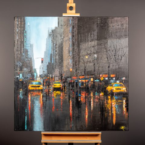 New York Dash by Paul Kenton, UK Contemporary artist, a Manhattan Cityscape original oil painting from his New York Art Collection
