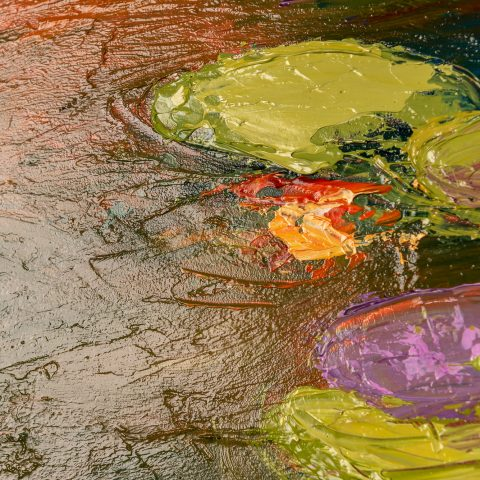 Water Lily Reflections by Paul Kenton, UK Contemporary artist, a Monet inspired original oil painting
