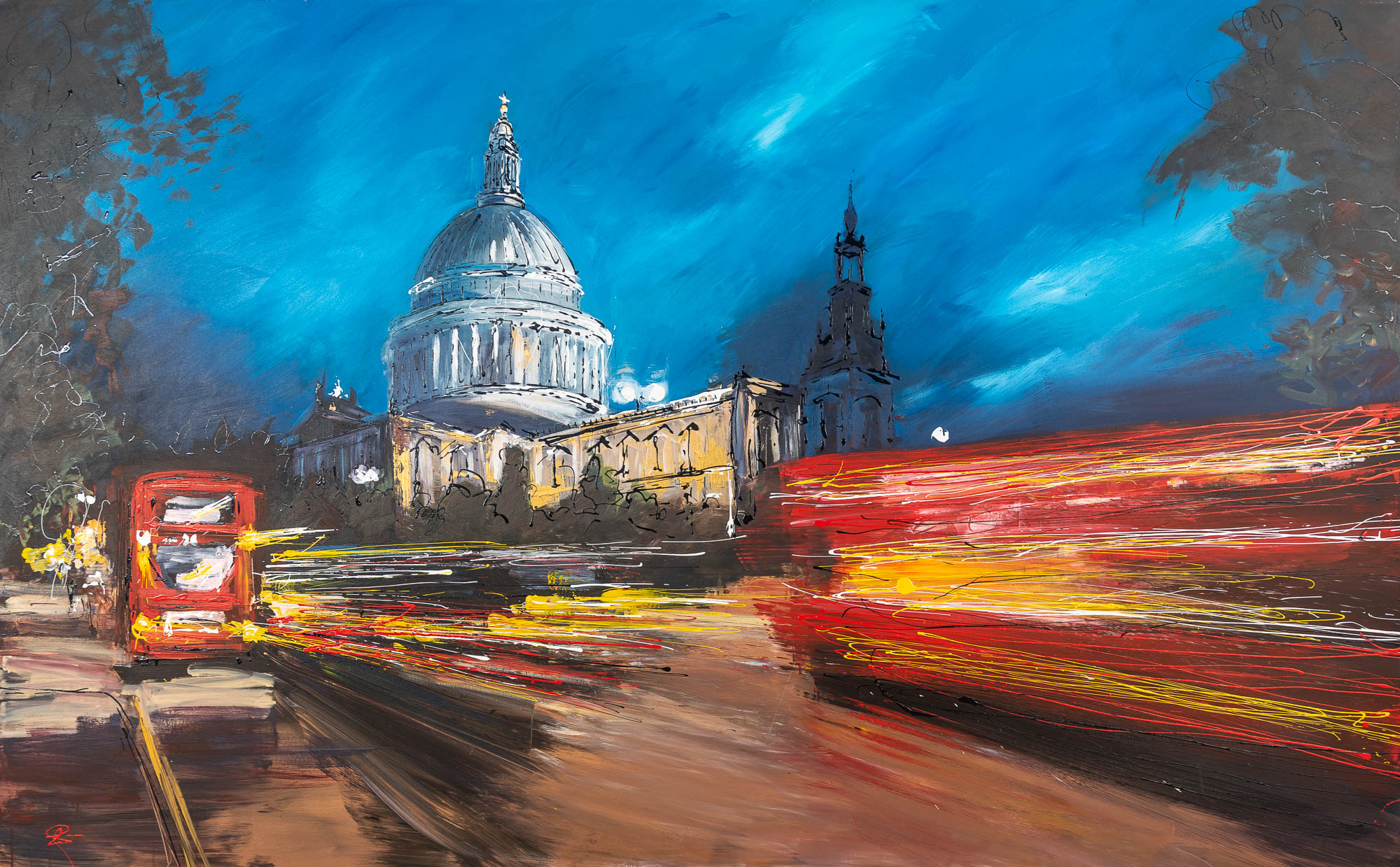 Kinetic St Pauls - Original Large Scale London Cityscape Painting by UK Contemporary Artist Paul Kenton, from the London Collection