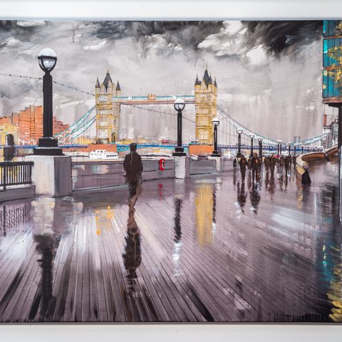 Tower Bridge Glistens by Paul Kenton, UK Contemporary artist, a London River Thames Cityscape original painting from his London Art Collection