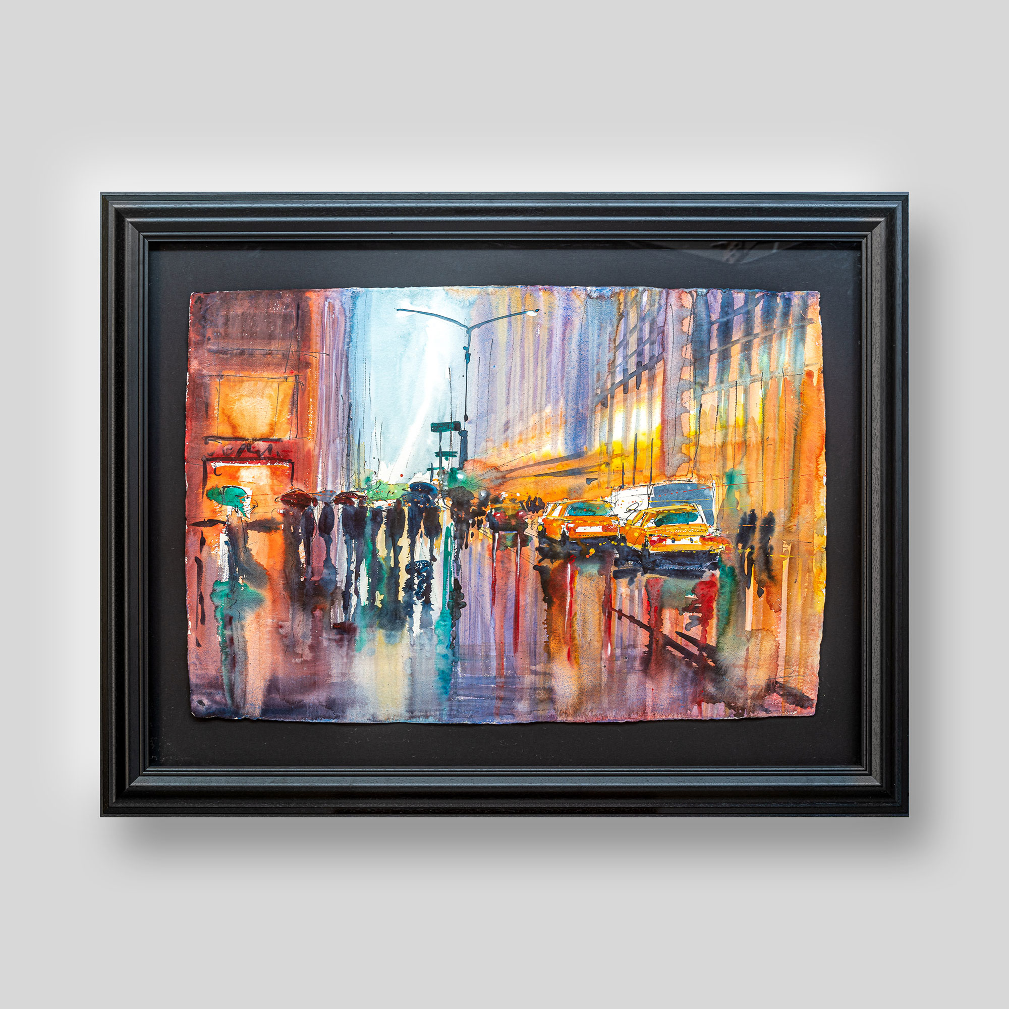 Blurred Lines - Original New York Taxi Painting by UK Cityscape Artist Paul Kenton, from the Watercolour Collection