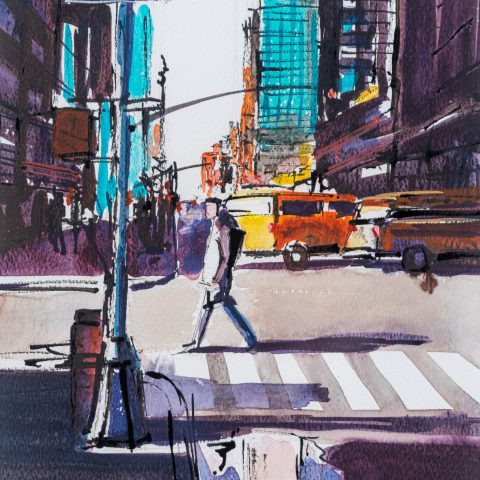 East 45th Street - Original New York Crossing Painting by UK Cityscape Artist Paul Kenton, from the Watercolour Collection