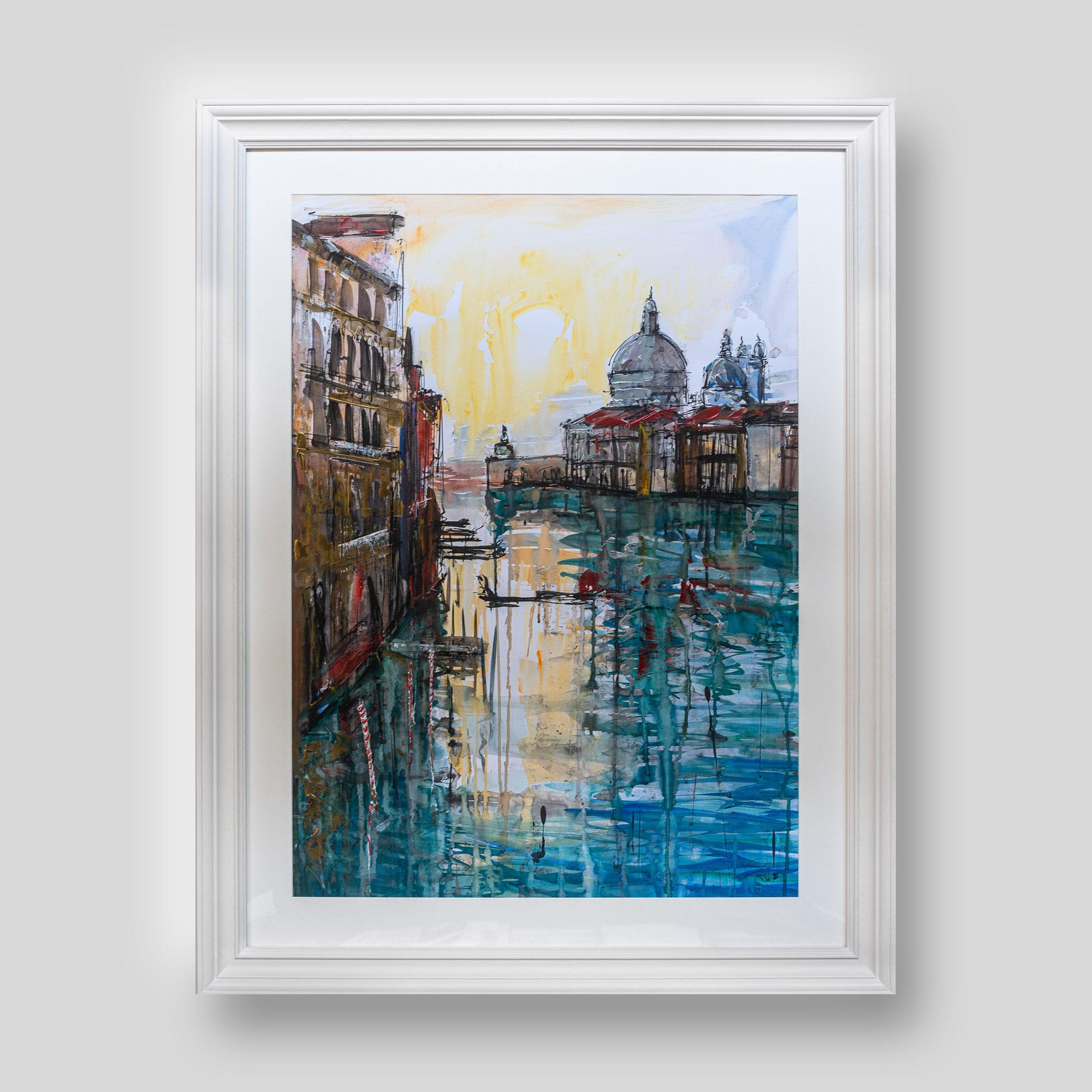 Gondola Travel - Original Venice Gondola Painting by UK Contemporary Cityscape Artist Paul Kenton, from the Watercolour Collection