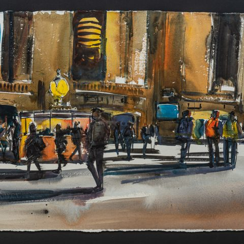 Grand Central Subway - Original Original Grand Central Painting by UK Contemporary Artist Paul Kenton, from the Watercolour Collection