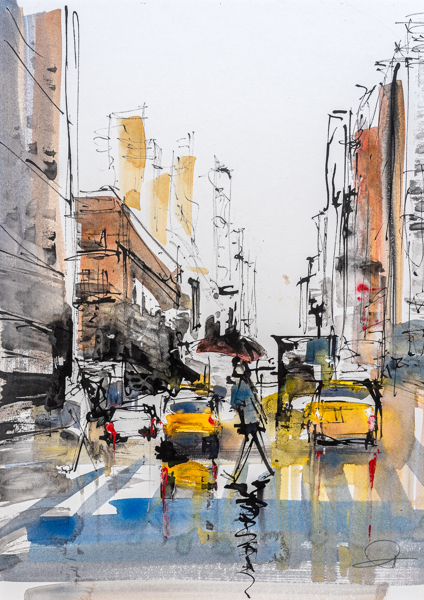 Moving Forward - Original New York Watercolour Painting by UK Cityscape Artist Paul Kenton, from the Watercolour Collection