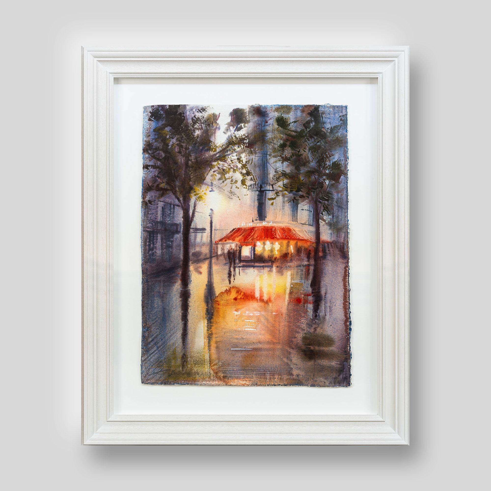 Parisien Calm - Original Paris Café Watercolour Painting by UK Contemporary Cityscape Artist Paul Kenton, from the Watercolour Collection