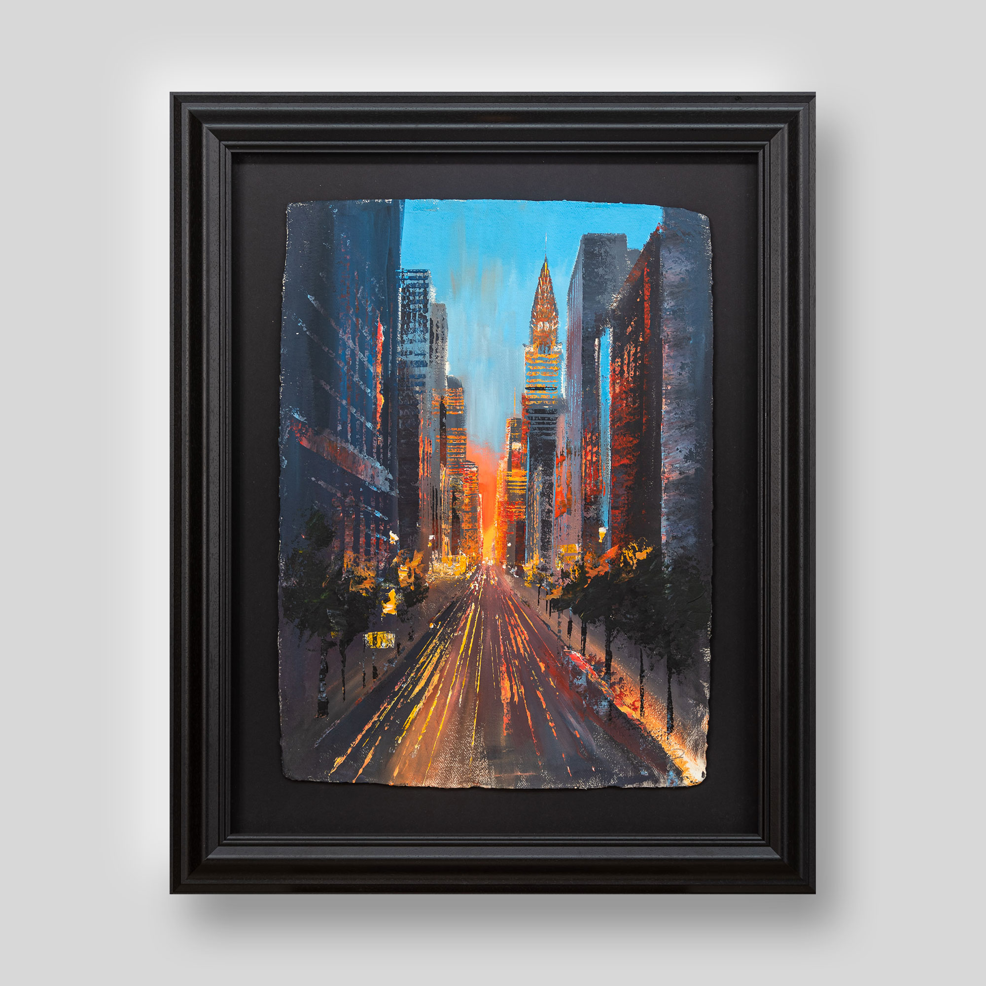 Skyscraper Central - Original Chsysler New York Sunset Painting by UK Contemporary Artist Paul Kenton, from the New York Collection
