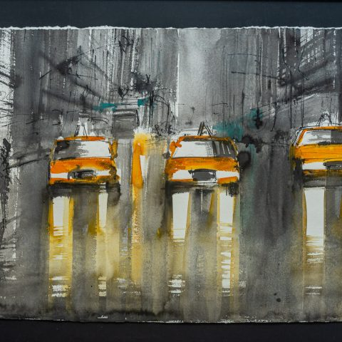 Taxi Dreaming - Original New York Taxi Cityscape Painting by UK Contemporary Artist Paul Kenton, from the Watercolour Collection