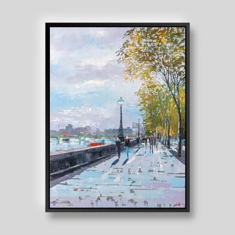 Blue Sky Drinking - Original Southbank London Painting by UK Contemporary Cityscape Artist Paul Kenton, from the London Collection