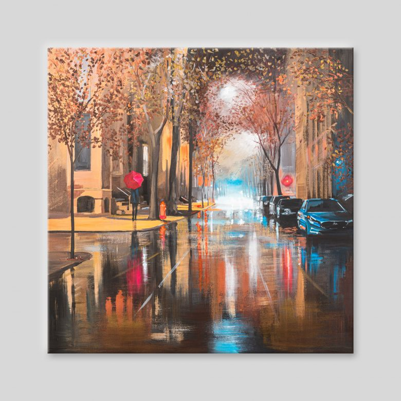Golden Reflections - Original New York Art Painting by UK Cityscape Artist Paul Kenton, from the New York Collection