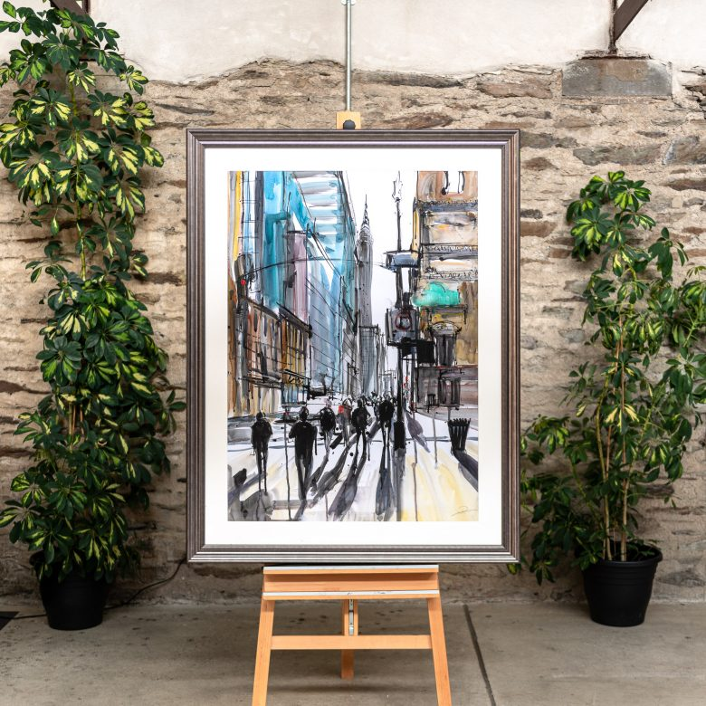 Walking in the Shadows of the Sidewalk - Original New York Cityscape Painting by UK Contemporary Artist Paul Kenton, from the Watercolour Collection