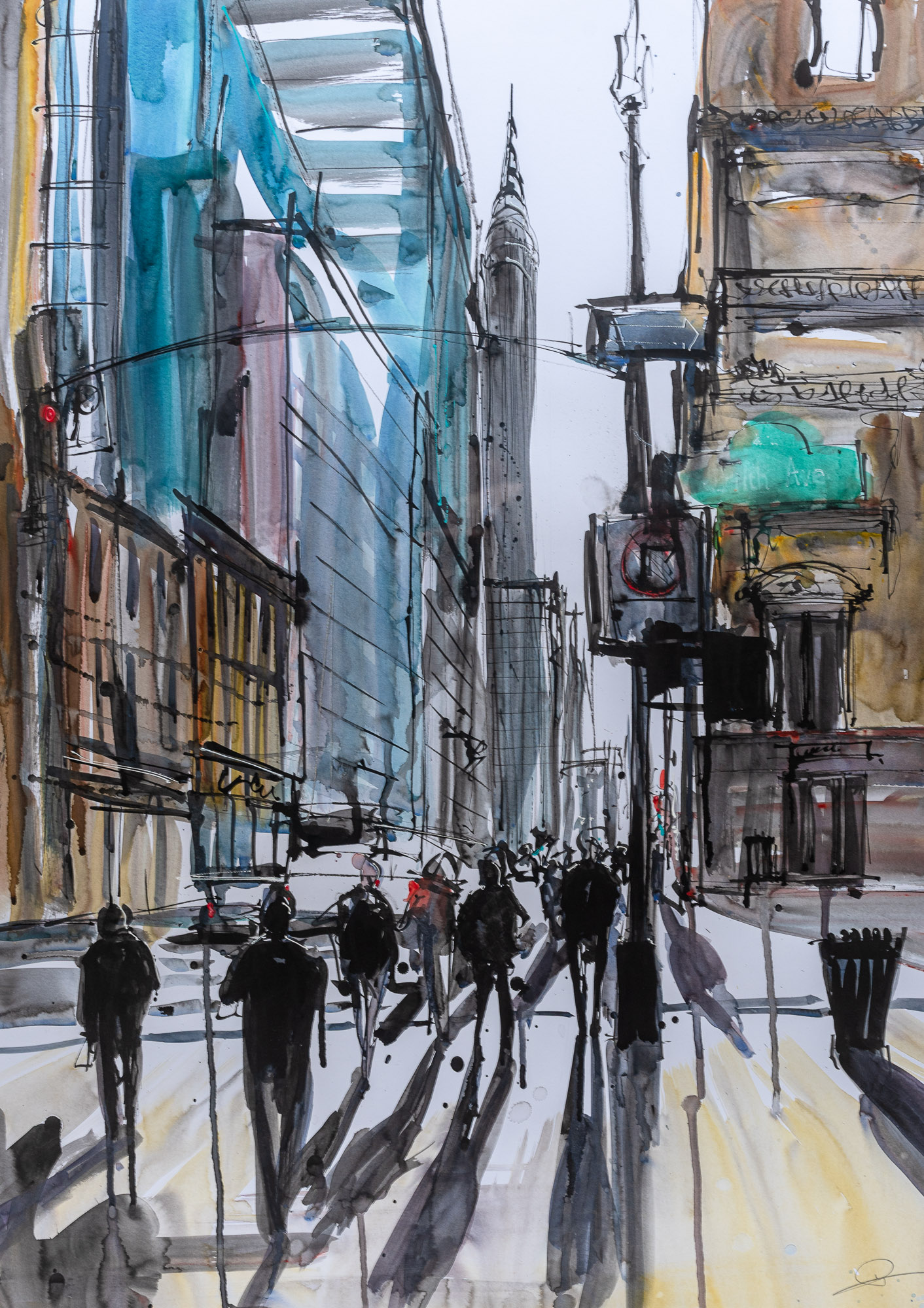 Walking in the Shadows of the Sidewalk - Original Chrysler New York Art Painting by UK Contemporary Artist Paul Kenton, from the Watercolour Collection