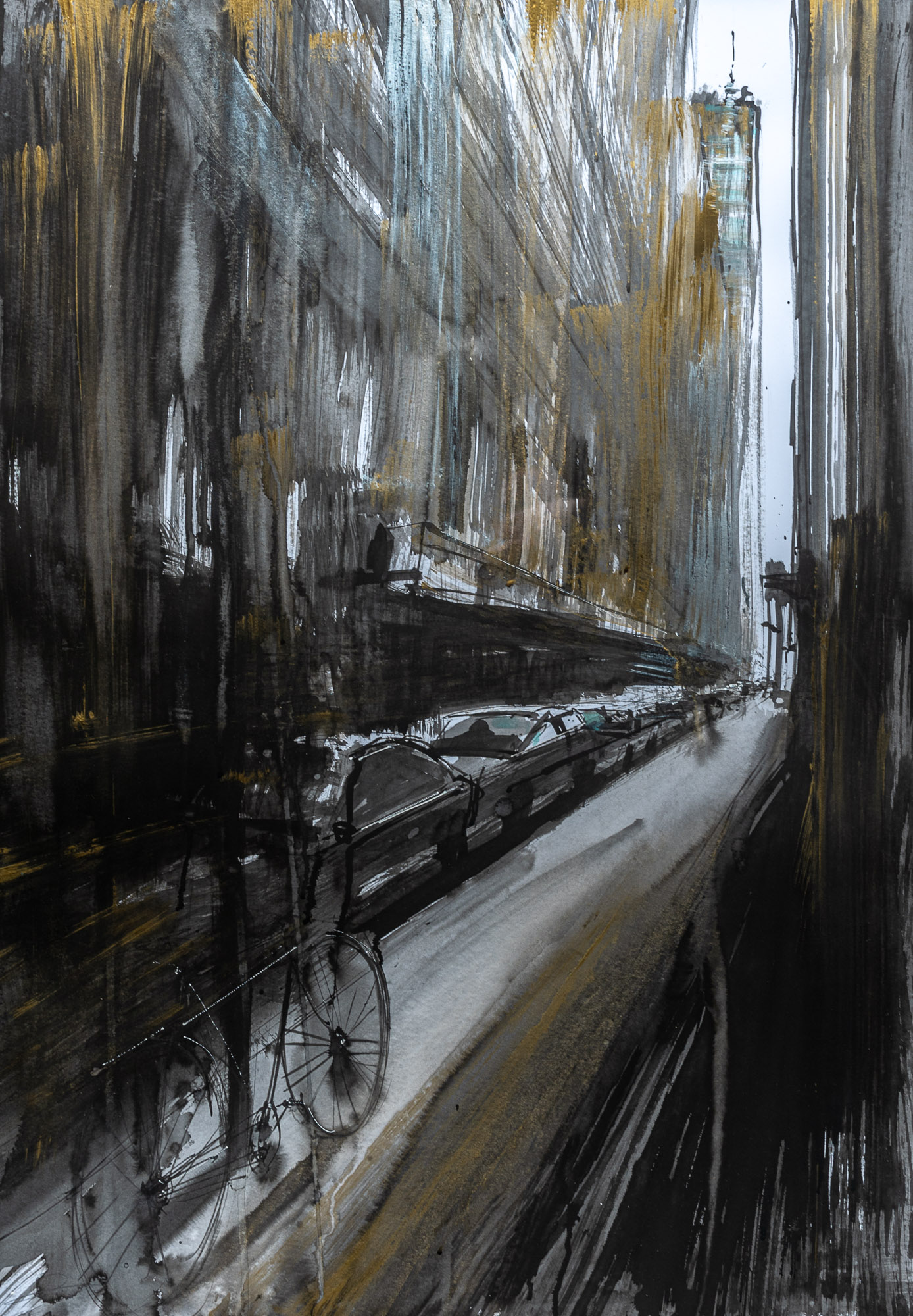 Where The Streets Have No Name - Original New York Watercolour Art Painting by UK Cityscape Artist Paul Kenton, from the Watercolour Collection
